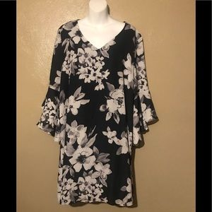 NY & Co charcoal flowered dress size XL polyester